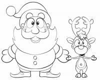 Дед мороз и олень Раскраска зима пришла
