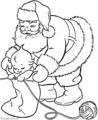 Дед мороз с малышом Раскраска зима пришла