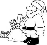 Дед мороз возле мешка с подарками Раскраска сказочная зима