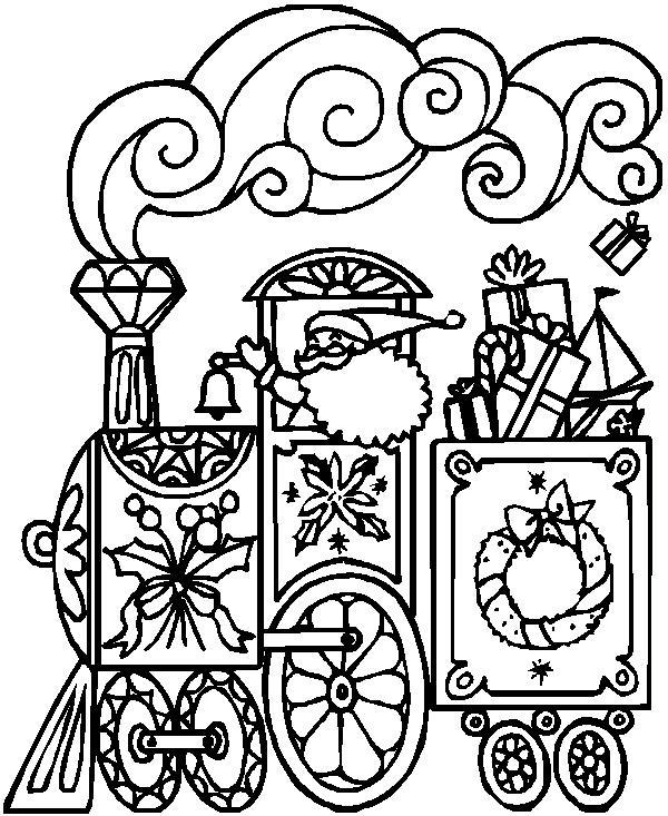Дед мороз на новогоднем поезде Раскраска зима пришла