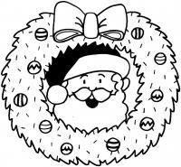 Дед мороз, новогодний веночек на дверь Раскраска зима пришла