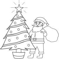 Дед мороз возле елки с горящей звездой Раскраска сказочная зима