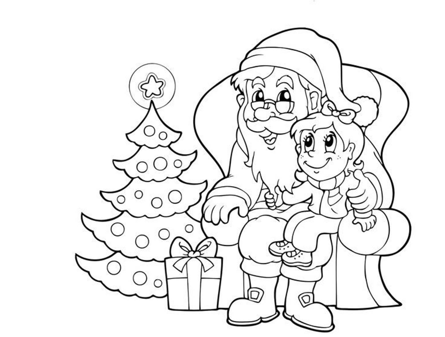 Дед мороз и девочка у елочки Раскраска зима пришла