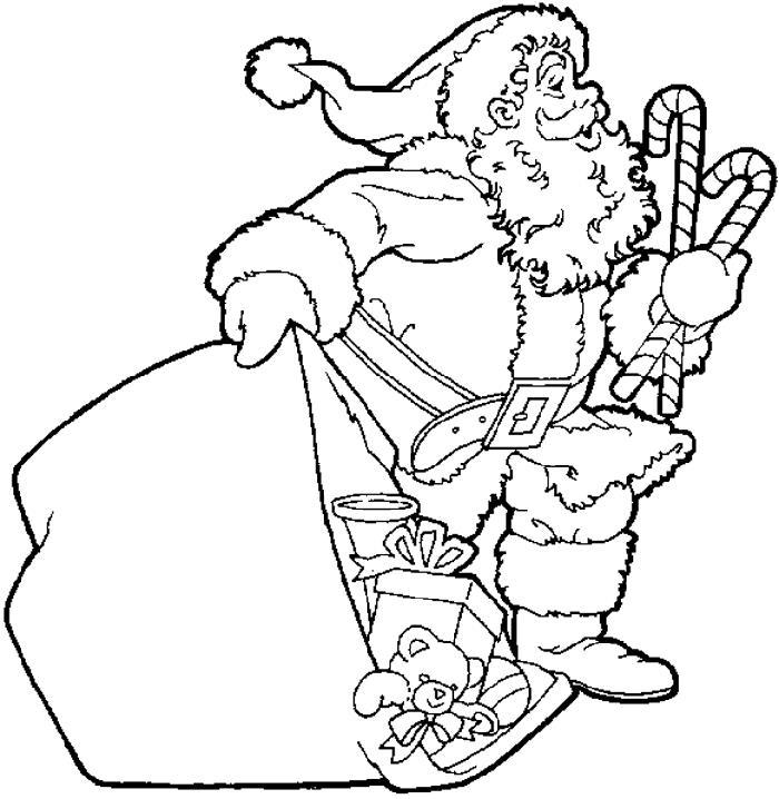 Дед мороз с выпадающими игрушками из мешка Раскраска зима пришла