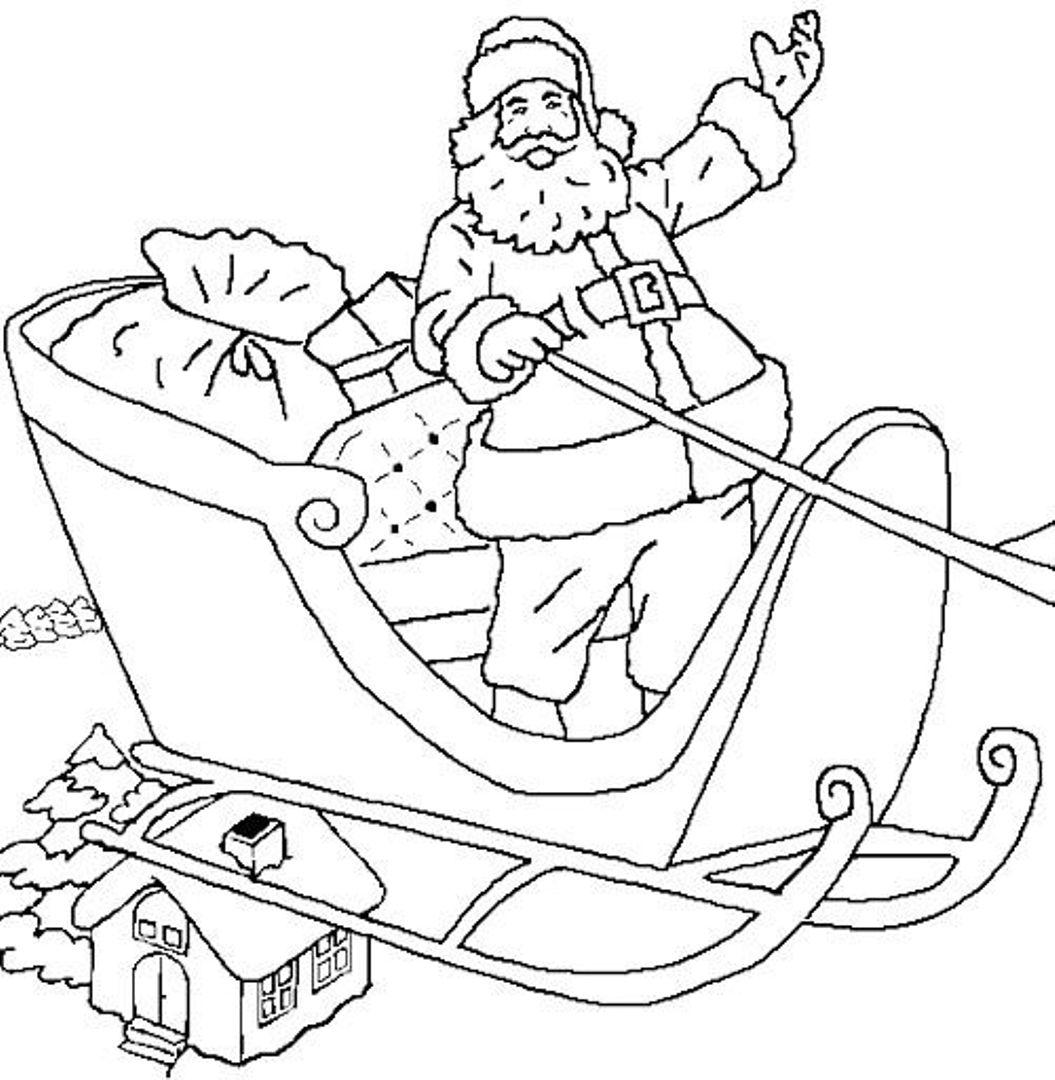 Дед мороз в санях Раскраска зима пришла