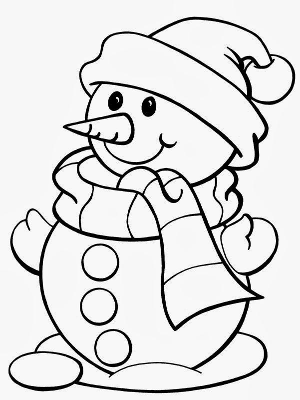 Снеговик в шапочке и шарфике с большими пуговицами Рисунок раскраска на зимнюю тему