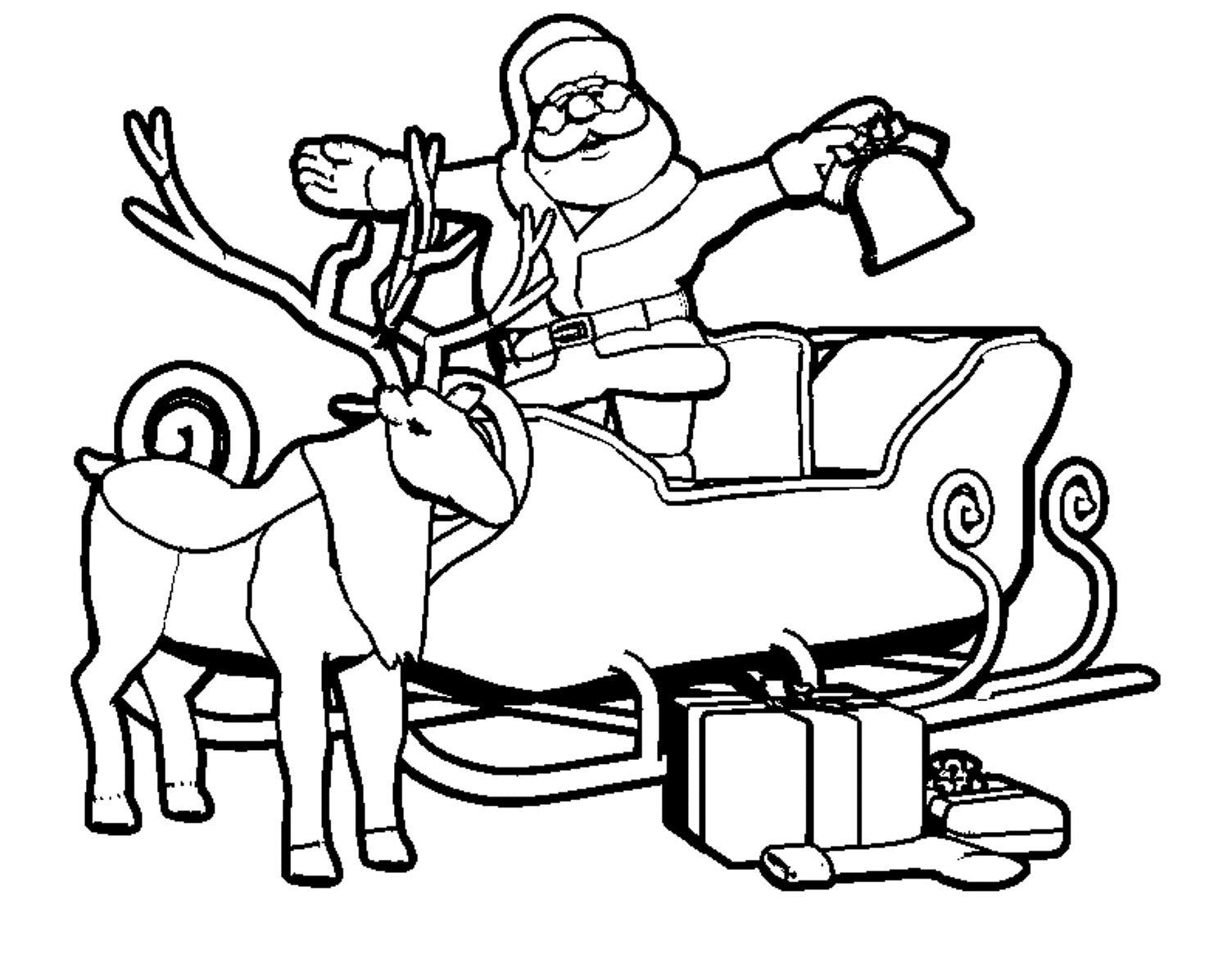 Дед мороз в санях с оленем Раскраска зима пришла