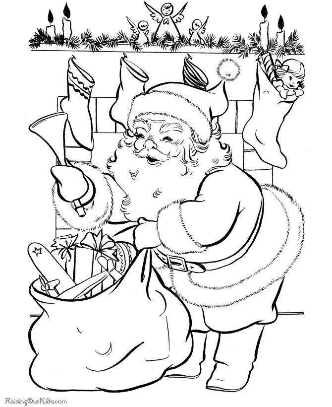 Дед мороз возле камина Раскраска зима пришла
