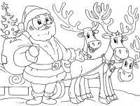 Дед мороз с елочкой и оленями Раскраска зима пришла