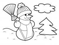 Снеговик с метелкой Рисунок раскраска на зимнюю тему