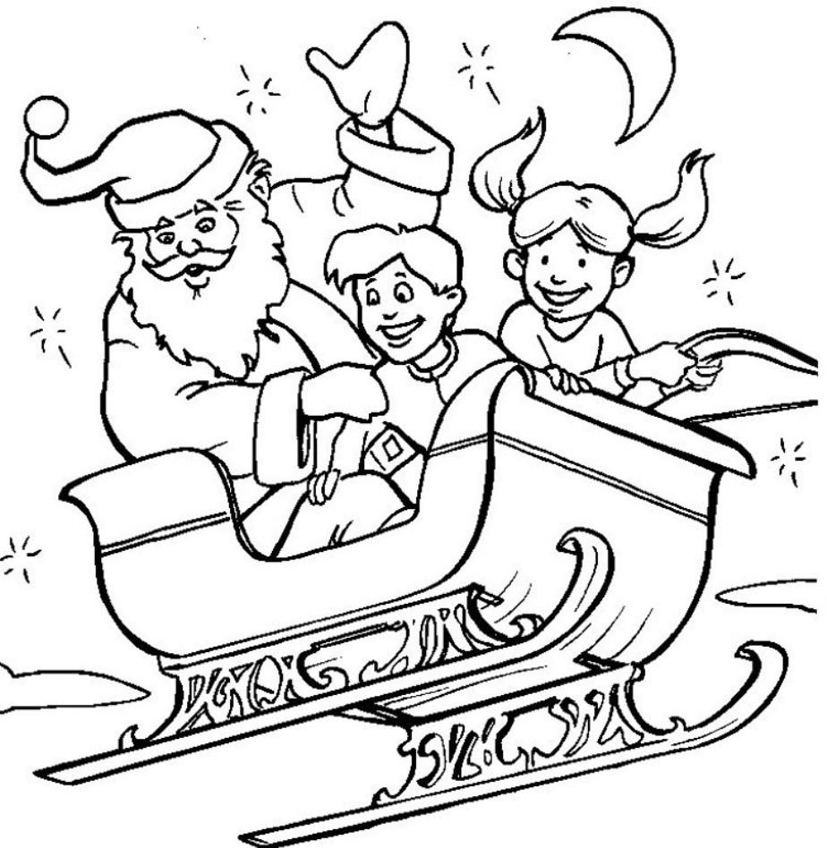 Дед мороз и дети летят в санях Раскраска зима пришла