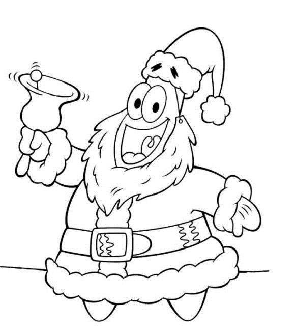 Дед мороз звезда с колокольчиком Раскраска зима пришла
