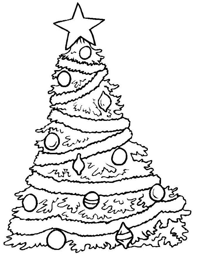Новогодняя елка украшенная шарами Раскраски на тему зима