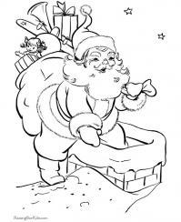 Дед мороз лезет в трубу с мешком Раскраска зима пришла