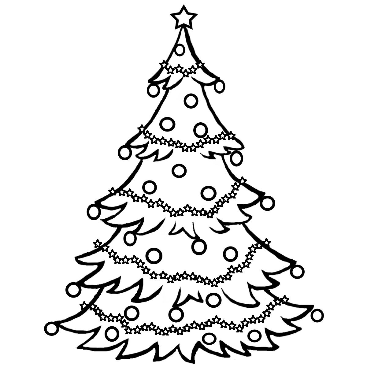 Новогодняя елка с гирляндами из звезд Раскраски на тему зима