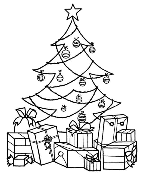 Новогодняя елка увешанная мишурой и подарками Раскраски на тему зима