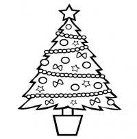 Новогодняя елочка в горшке Раскраски на тему зима