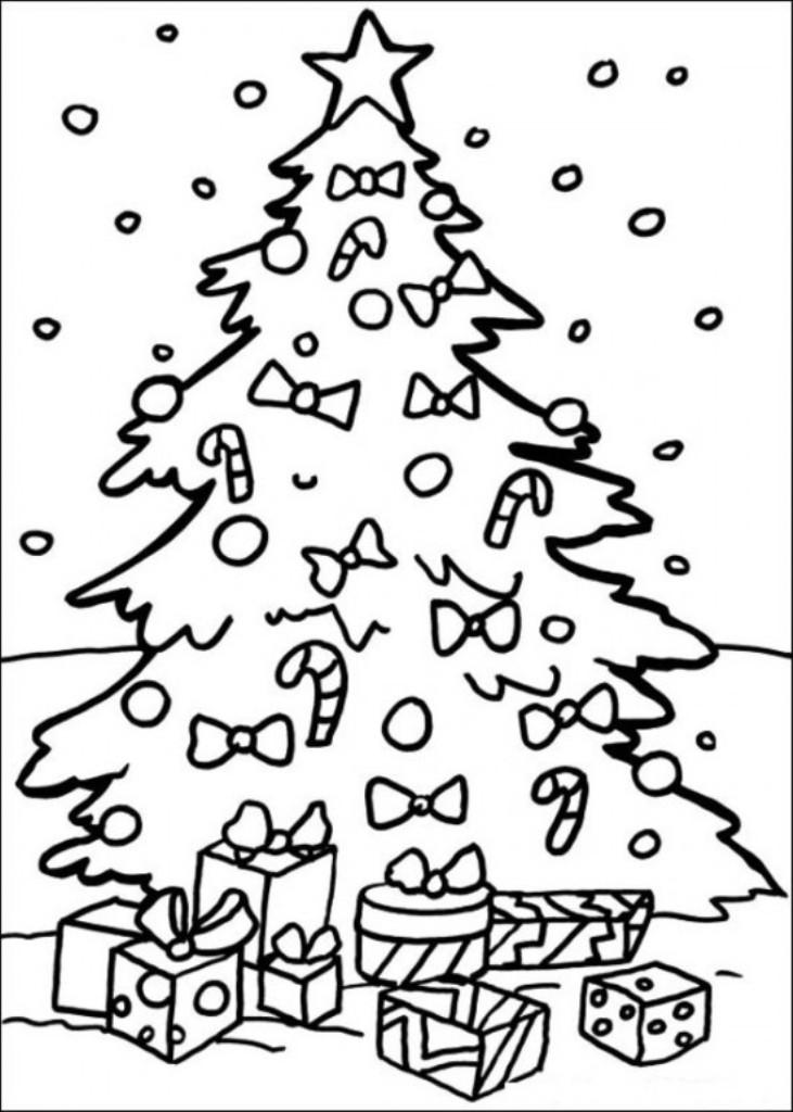 Новогодняя елка с бантиками и подарками под снегом Раскраска зима распечатать