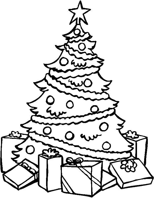 Новогодняя елка в шарах Раскраски на тему зима