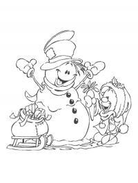 Веселый снеговик и медвежонок Рисунок раскраска на зимнюю тему