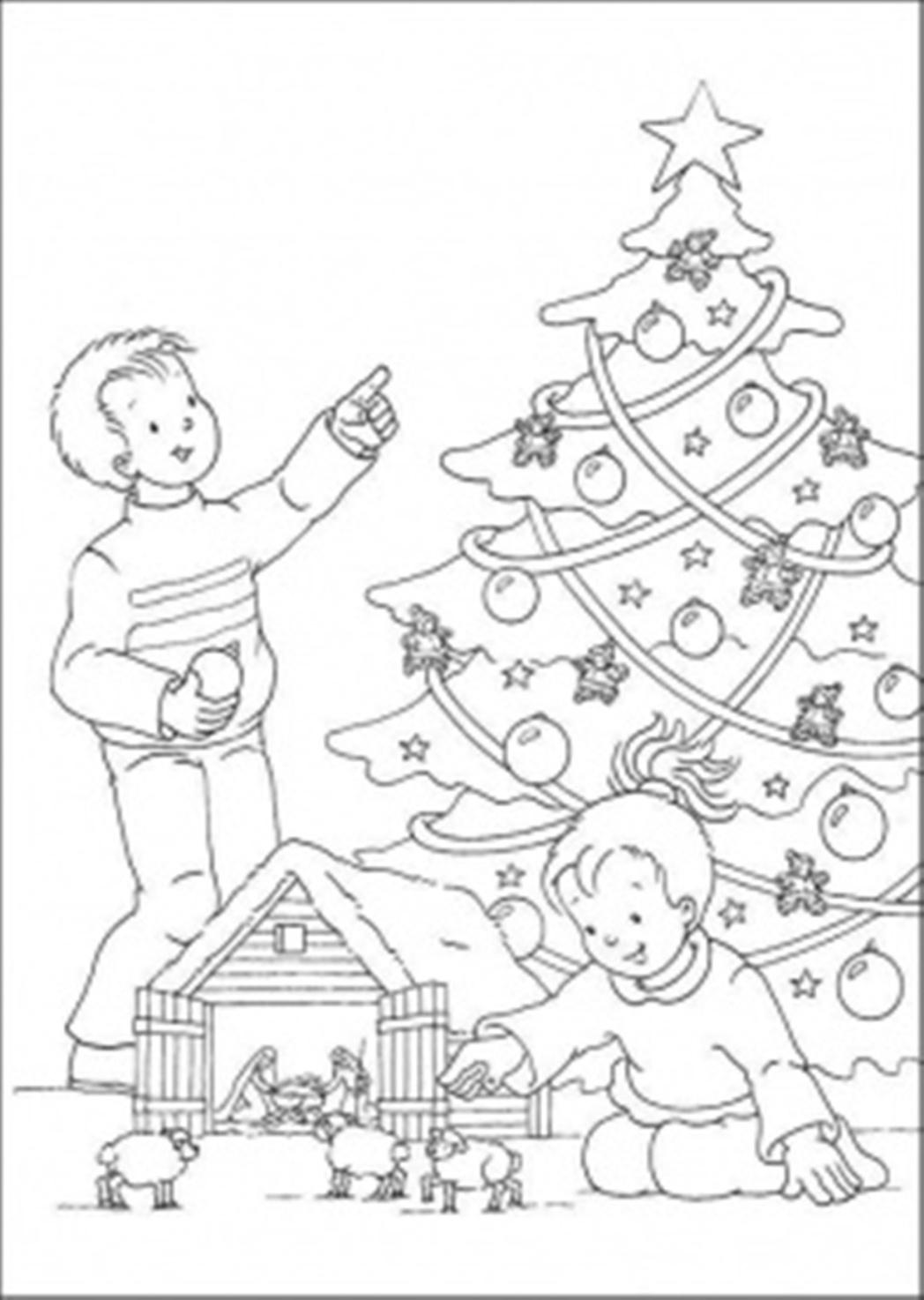 Дети возле новогодней елки Раскраски на тему зима