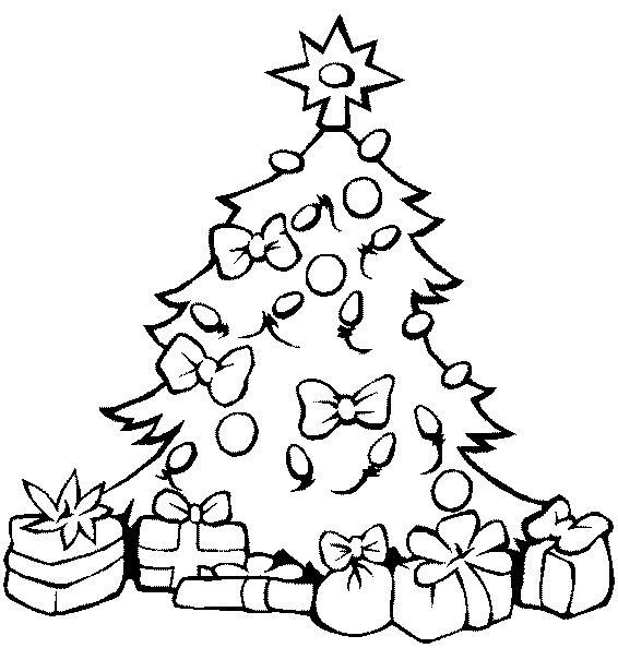 Новогодняя елка с большими бантами Раскраски на тему зима
