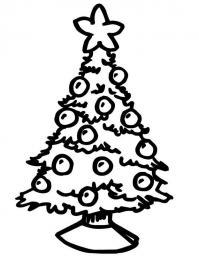 Украшенная новогодняя елка Раскраски на тему зима