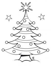 Красивая новогодняя елка с сияющей звездой Раскраски на тему зима