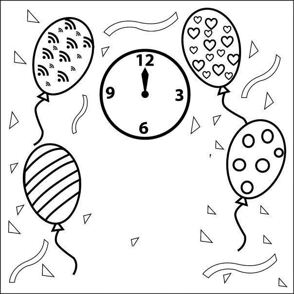 Часы 12 бьют Детские раскраски зима распечатать