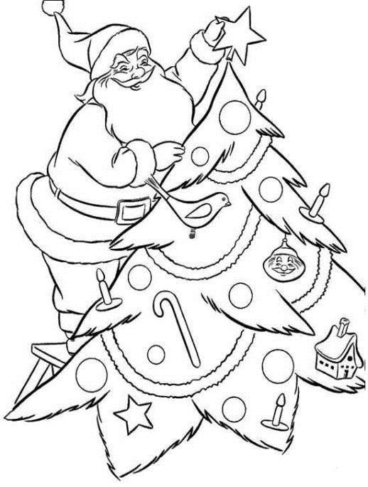 Дед мороз надевает звезду на елку Раскраски на тему зима