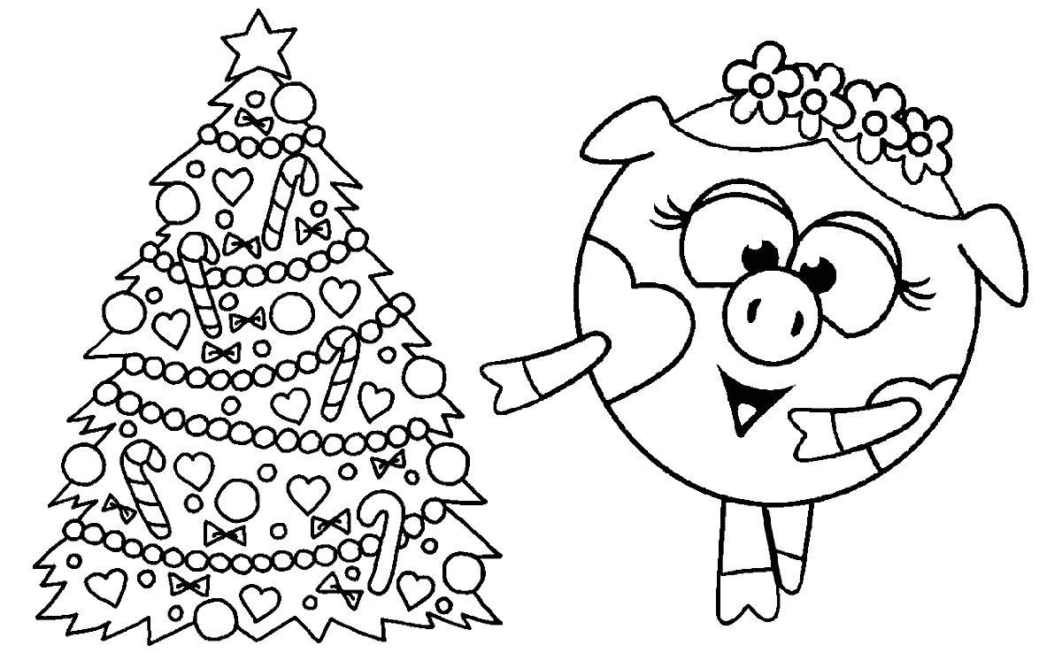Новый год у смешариков Раскраски для детского сада