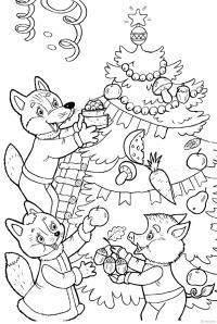Зверята наряжают елку Зимние раскраски для девочек