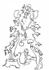 Белочки, зайчики и ежик наряжают елку Детские раскраски зима распечатать