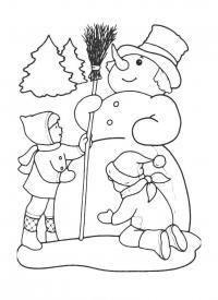 Дети лепят снеговика Рисунок раскраска на зимнюю тему