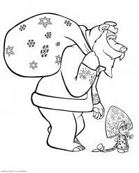 Мишка дед мороз и маша снегурочка Зимние раскраски для мальчиков