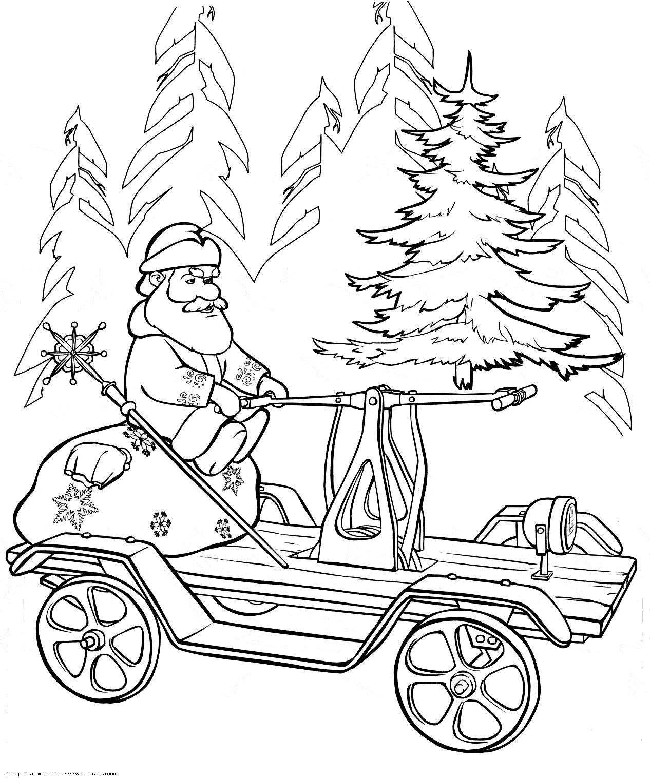 Дед мороз на самокате Зимние раскраски для мальчиков