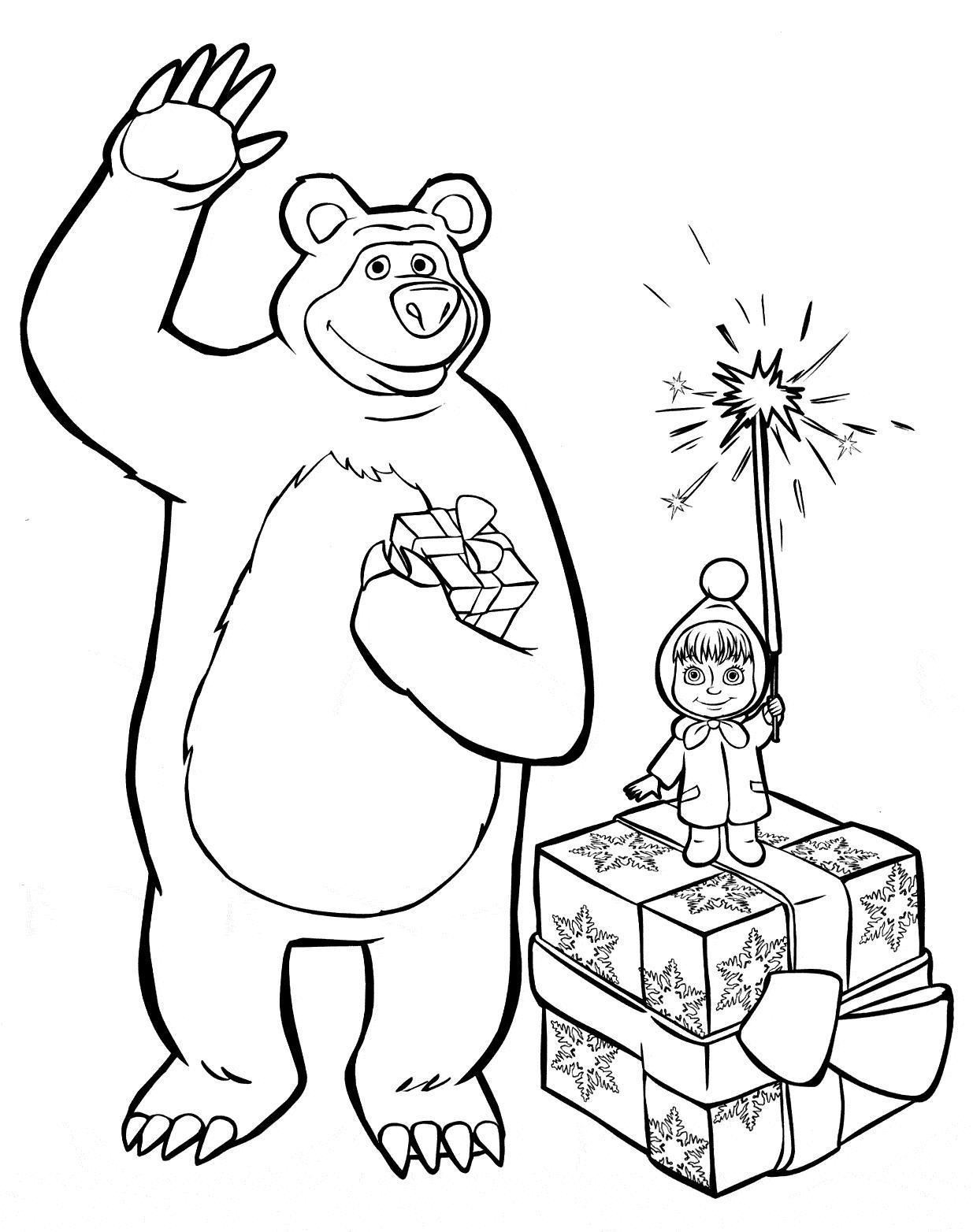 Маша и медведь Зимние раскраски для мальчиков