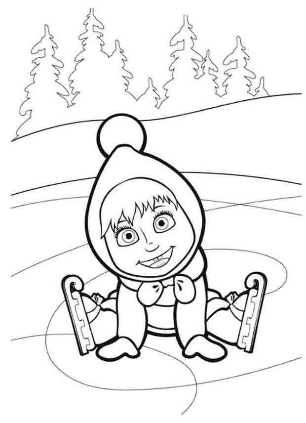 Маша на коньках Зимние раскраски для мальчиков