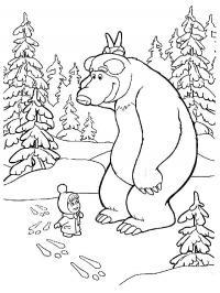 Маша и мишка, следы на снегу Зимние раскраски для мальчиков