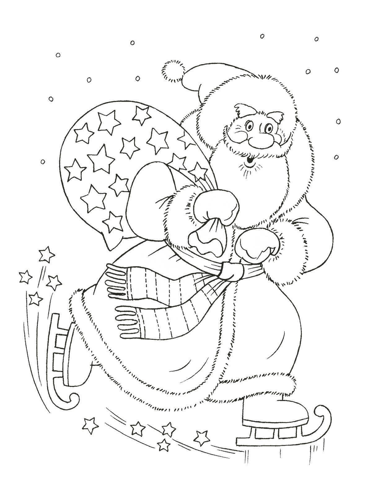 Дед мороз едет на коньках с мешком  в звездах Раскраска зима пришла