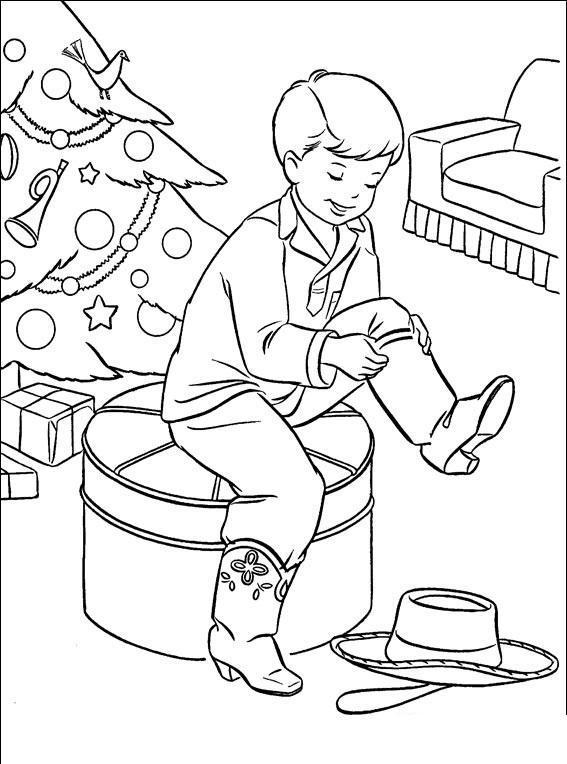 Из мультиков, мальчик наряжается в ковбоя Раскраски про зиму для детей