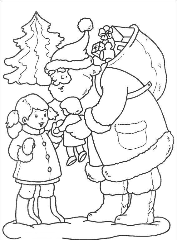 Из мультиков, дед мороз дарит девочке подарок Зимние раскраски для мальчиков