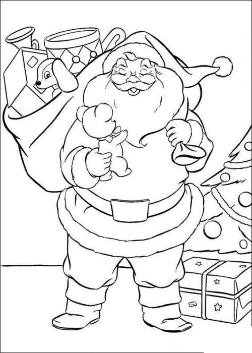 Из мультиков, дед мороз оставляет подарки под елки Зимние раскраски для мальчиков