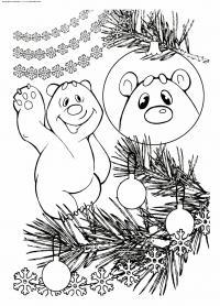 Из мультиков, умка отражается в елочном шаре Зимние раскраски для мальчиков