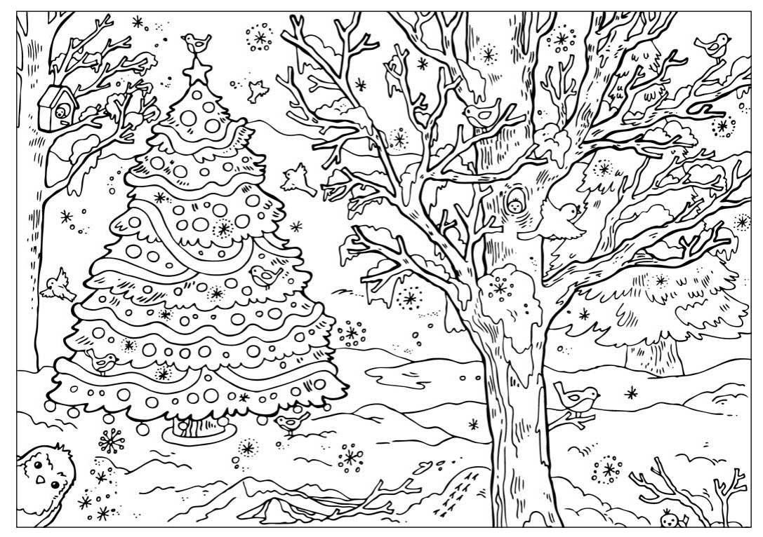 Наряженная елочка в лесу Детские раскраски зима распечатать