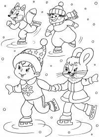Из мультиков на катке, снеговичек, лис, зайчиха, мальчик Рисунок раскраска на зимнюю тему
