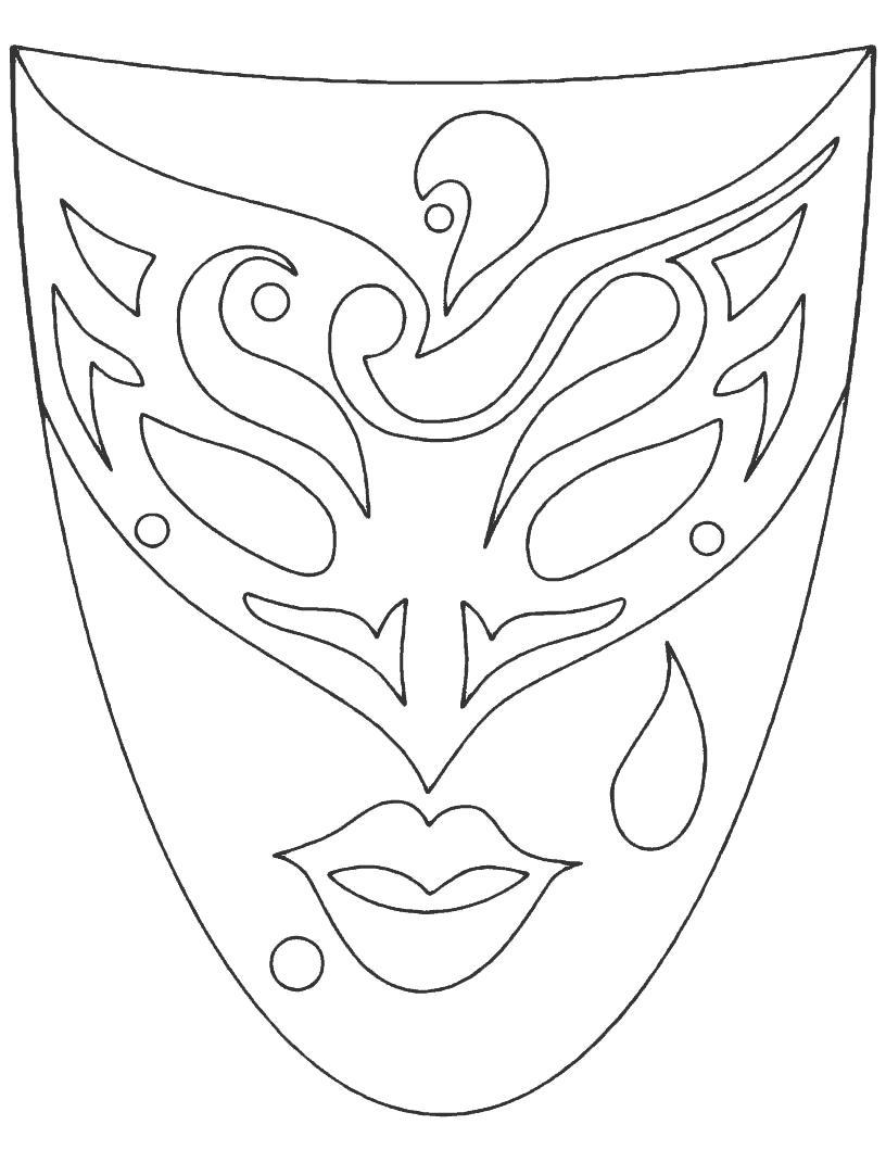 Класическая карнавальная маска Раскраски про зиму для детей