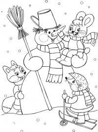 Снеговик играет с животными Рисунок раскраска на зимнюю тему