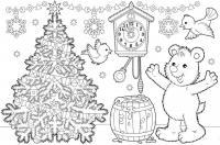 Плакаты, медведь радуется бочке меда Раскраски зима скачать бесплатно
