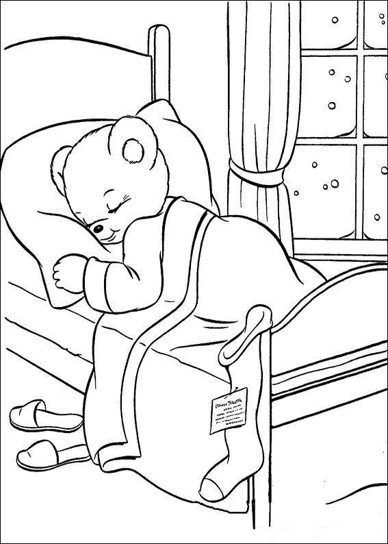 Плакаты, медвежонок в зимней спячке Раскраски зима скачать бесплатно